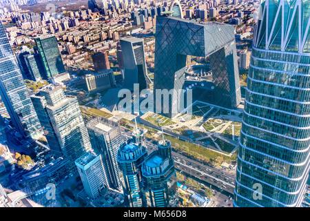 China World Trade Center Z 15 Türme Wolkenkratzer CCTV-Hosen Gebäude Guamao Centrall Business District Beijing China - Stockfoto