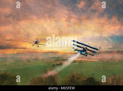 Digital geändert Bild einer Welt Krieg 1 Dogfight über die offene Landschaft - Stockfoto