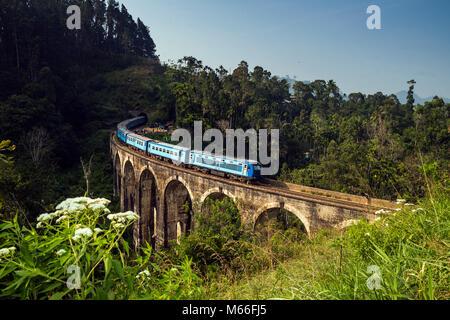 Zug über Demodara Neun Bögen Brücke, Ella, Sri Lanka fahren - Stockfoto