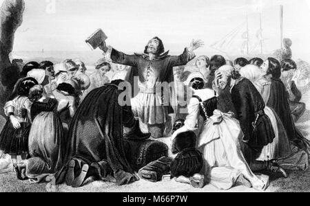 1620 EINSCHIFFUNG PILGRIM FATHERS BETEN FÜR FÜHRUNG VOR DER ABFAHRT MAYFLOWER IN PLYMOUTH Kolonie Massachusetts - Stockfoto