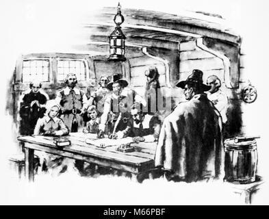 1620 Pilgrim Fathers AUSARBEITUNG DER MAYFLOWER COMPACT ZU REGIEREN PLYMOUTH COLONY AUF DEM SCHIFF-q 70008 CPC 001 - Stockfoto