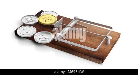 Cryprocurrency Münzen auf einer Mausefalle auf weißem Hintergrund. 3D-Darstellung - Stockfoto