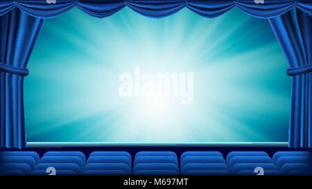 Blau Theater Vorhang Vektor. Theater, Oper oder Kino leer Seide, Rot Szene. Blauen Hintergrund. Banner, Plakat, - Stockfoto
