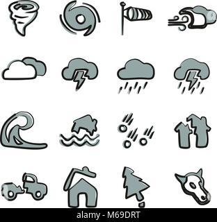 Tornado Symbole Freehand 2 Farbe - Stockfoto