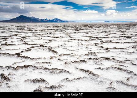 Salz verkrustet Platten in Bonneville Salt Flats State Park, Sonnenuntergang, Silber Insel Berge in der Ferne, Great - Stockfoto