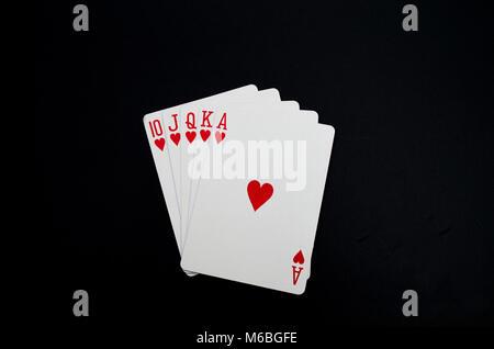 Royal Flush Spielkarten Poker Hand - Stockfoto