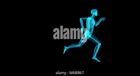 Künstlerische 3D Abbildung: Ein Jogger in Schmerz in seiner Gelenke - Stockfoto