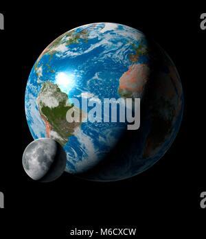 Bild vergleichen von der Größe der Erde mit seiner einzigen Mond. Der Mond ist 27% der Größe ihrer Eltern, die es - Stockfoto