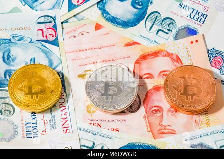 Singapur Dollar Und Münzen Auf Der Oberseite Des Malaysischen
