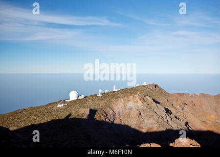 Astronomische Observatorien am Roque de Los Muchachos auf La Palma in Spanien. - Stockfoto