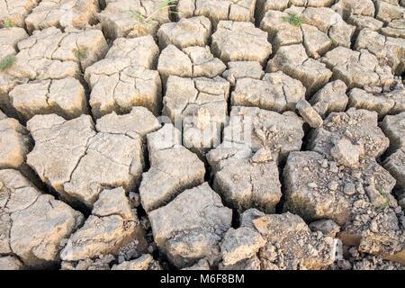 Trockener Erde entlang des Mekong in Vientiane Laos geknackt - Stockfoto