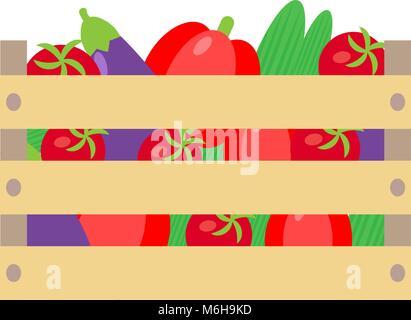Gemüse Kiste und Holzkisten - Stockfoto