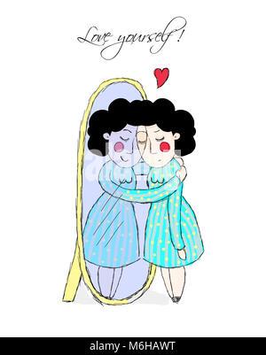 Selbstakzeptanz, liebe dich selbst. Frau im Spiegel - Stockfoto