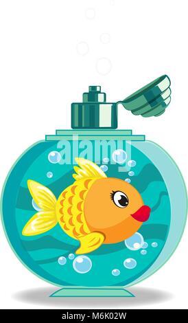 Cute cartoon Goldfisch in Seife Flasche auf weißem Hintergrund. Vector Illustration, Symbol, clip art. - Stockfoto
