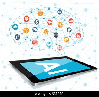 Künstliche Intelligenz (KI), Connectivity, innovative Smart Cyber Security digitale Informationstechnologien Vektor - Stockfoto