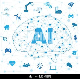 Künstliche Intelligenz Konnektivität. Innovative Smart Cyber Security. Digitaler Informationstechnologien. Vektor - Stockfoto
