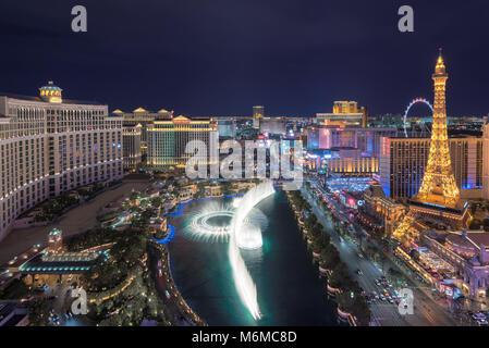 Luftaufnahme von Las Vegas in Nevada als bei Nacht - Stockfoto