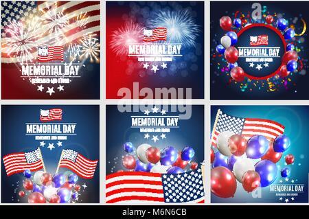 Independence Day of America Vorlage set für Broschüren, Postkarten ...