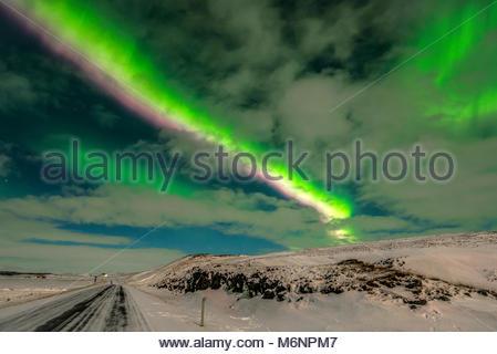 Island Fludir Northern lights - Stockfoto