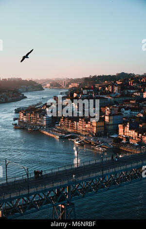 blick ber porto mit ponte dom lu s i br cke ber den fluss douro sonnenuntergang porto. Black Bedroom Furniture Sets. Home Design Ideas
