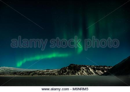 Island zwischen tra Vik und Skogafoss - Northern Lights - Stockfoto