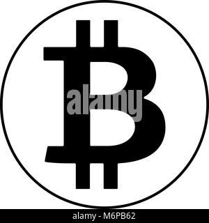 Schwarz bitcoin Zeichen Symbol auf weißem Hintergrund. Vector Illustration, cryptocurrency Symbol, Symbol. - Stockfoto