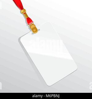Leere Plakette auf rotem Halsband - Stockfoto