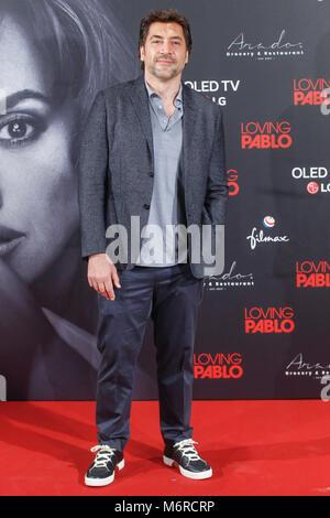 Madrid, Spanien. 06 Mär, 2018. Javier Bardem in der liebevollen Pablo photocall im Melia Serrano Hotel in Madrid, - Stockfoto