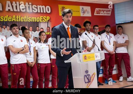 Madrid, Spanien. 06 Mär, 2018. Der Präsident der Königlichen Spanischen Leichtathletik-verbandes (Rfea), Raul Chapado, - Stockfoto