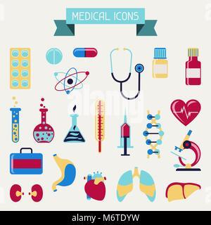Gesundheits- und Krankenpflege Symbole gesetzt - Stockfoto