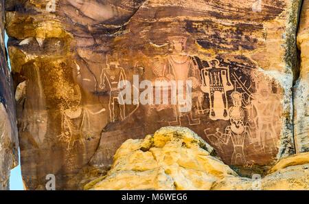 Drei Könige, Indianische Felszeichnungen, Fremont Stil, in Dry Fork Canyon, McConkie Ranch, in der Nähe von Vernal, - Stockfoto