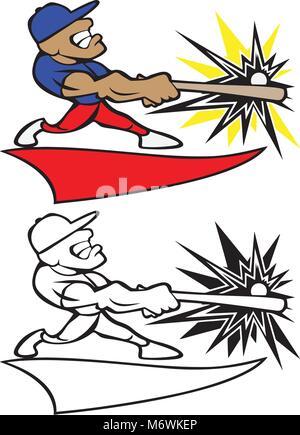 Eine Karikatur Illustration eines muskulösen Baseball-Spieler suchen ...