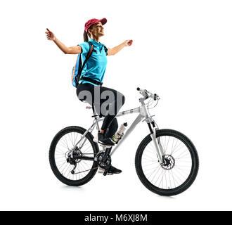 Radfahrer in blauen T-Shirt, das Fahrrad in Silhouette auf weißem Hintergrund. Dynamische Bewegung. Sport und eine - Stockfoto