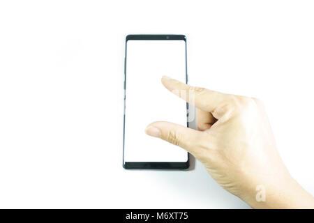 Männliche Hand am Smartphone Schwarz - Stockfoto