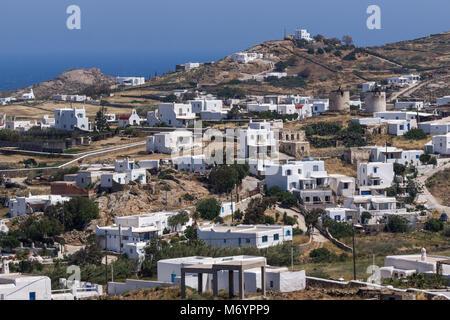 Panorama der Stadt von Ano Mera, Insel Mykonos, Kykladen, Griechenland - Stockfoto
