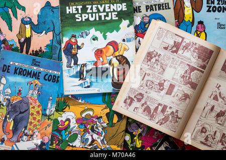 Sammlung von farbige Abdeckungen der Flämischen Comics Nero von der Belgischen Comic Book Creator/Zeichner Marc - Stockfoto