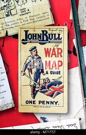 Militärische Erinnerungsstücke 1914 John Bull Weltkrieg 1 map&guide zum Verkauf einen Penny memorial Kriege Armee - Stockfoto