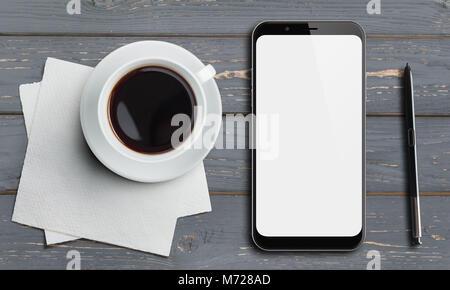 Smartphone Draufsicht auf grau Holz Tisch mit Stift und Kaffee - Stockfoto