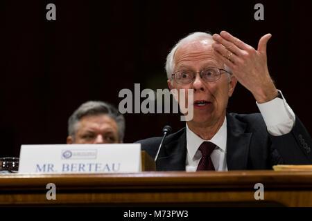 Washington, USA. 07 Mär, 2018. Professional Services Rat Präsident David Berteau bezeugt vor United States Senats - Stockfoto