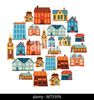 Stadt Icon Set von niedlichen bunten Häusern - Stockfoto