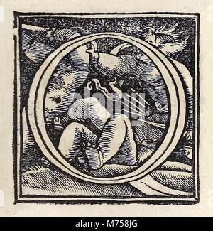 """Beleuchtete """"O"""" aus dem Jahre 1518 Basel dritte Ausgabe von """"Utopia"""" von Thomas Morus (1478-1535) erstmals im Jahr - Stockfoto"""