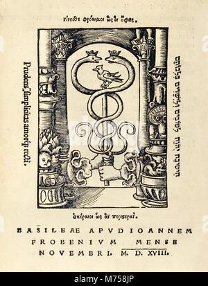 Der Drucker Markieren von Johann Frobens (ca. 1460-1527) mit zwei Händen hält der Caduceus vom 1518 Dritte Ausgabe - Stockfoto