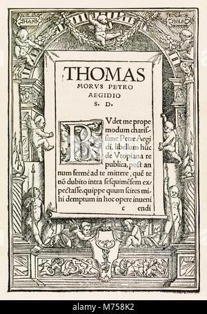 """Engagement Seite aus dem Jahre 1518 Basel dritte Ausgabe von """"Utopia"""" von Thomas Morus (1478-1535) erstmals im Jahr - Stockfoto"""