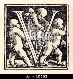 """'V' aus dem Jahre 1518 Basel dritte Ausgabe von """"Utopie beleuchtet"""" von Sir Thomas More (1478-1535) erstmals im - Stockfoto"""