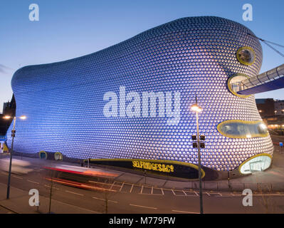 Selfridges in der Dämmerung, Birmingham, England, Vereinigtes Königreich, Europa - Stockfoto