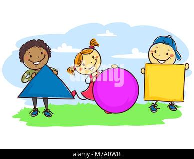 vector illustration von stick kinder hinter einem abc