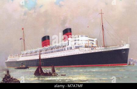RMS Mauretania auf einer Postkarte von 1938 - Stockfoto