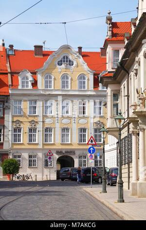Historische Hausfassade, Oberes Pfaffengässchen, Altstadt, Augsburg, Schwaben, Bayern, Deutschland, Europa - Stockfoto