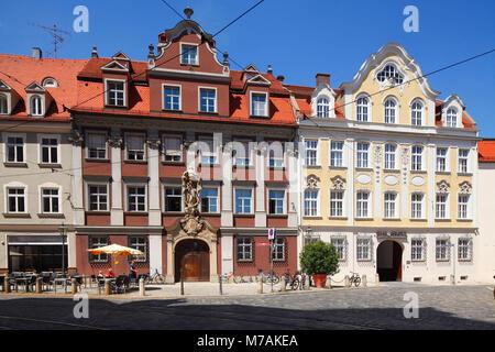 Historische Hausfassade, Frauentorstrasse Ecke Inneres Pfarrgässchen, Altstadt, Augsburg, Schwaben, Bayern, Deutschland, - Stockfoto