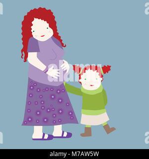 Porträt einer schwangeren Mutter mit ihrer Tochter Stockfoto